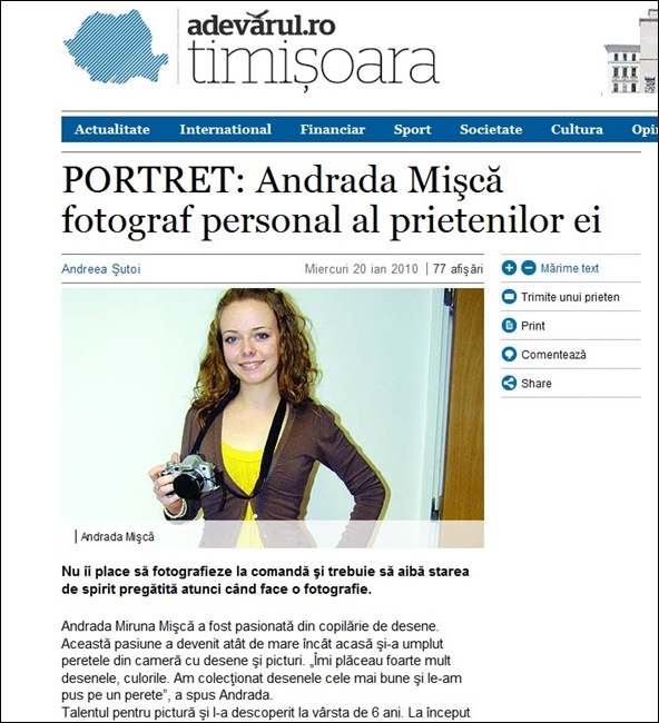 """Andrada in """"Adevarul"""" de Timisoara"""